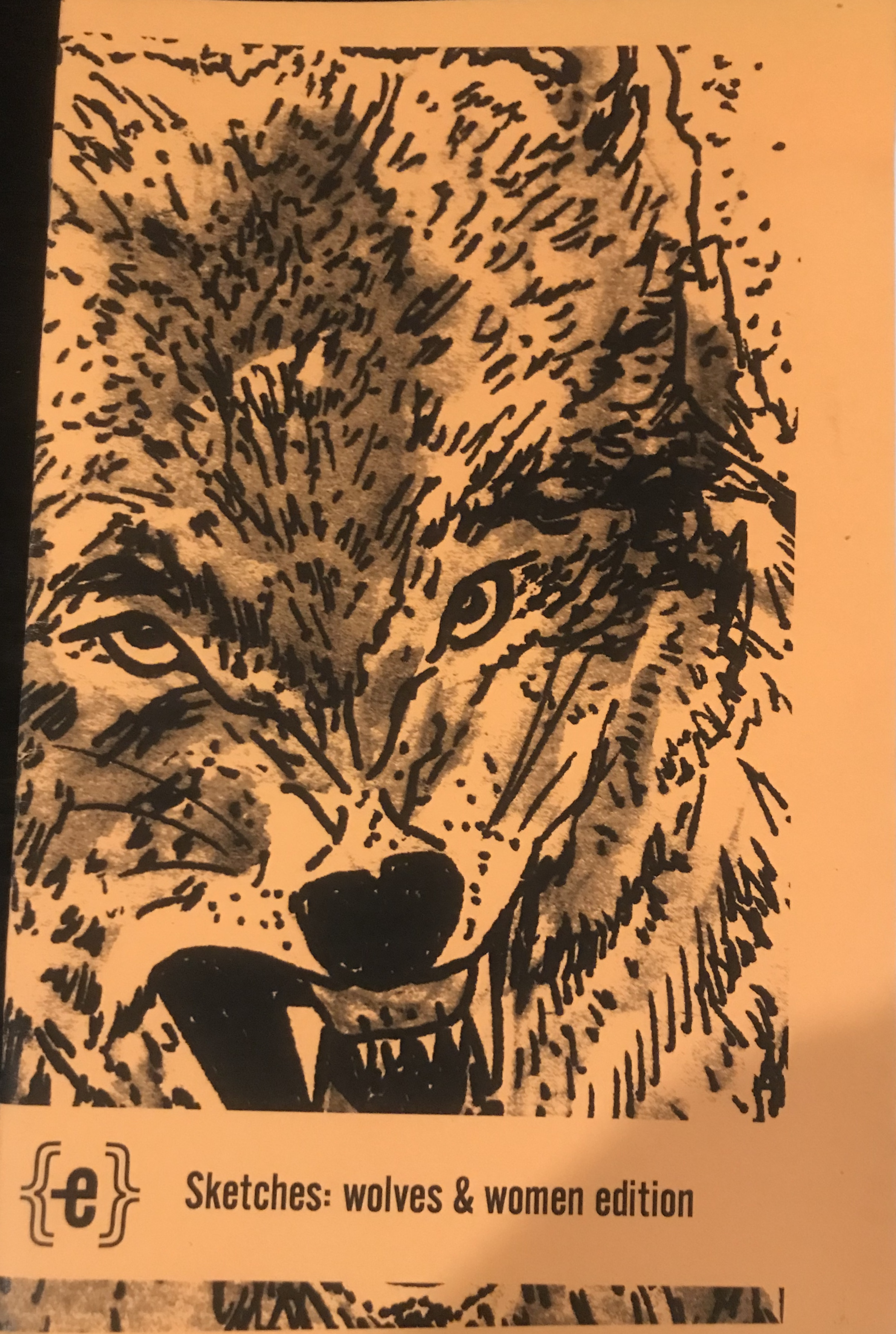 Orange cover with a drawing of a wolf.