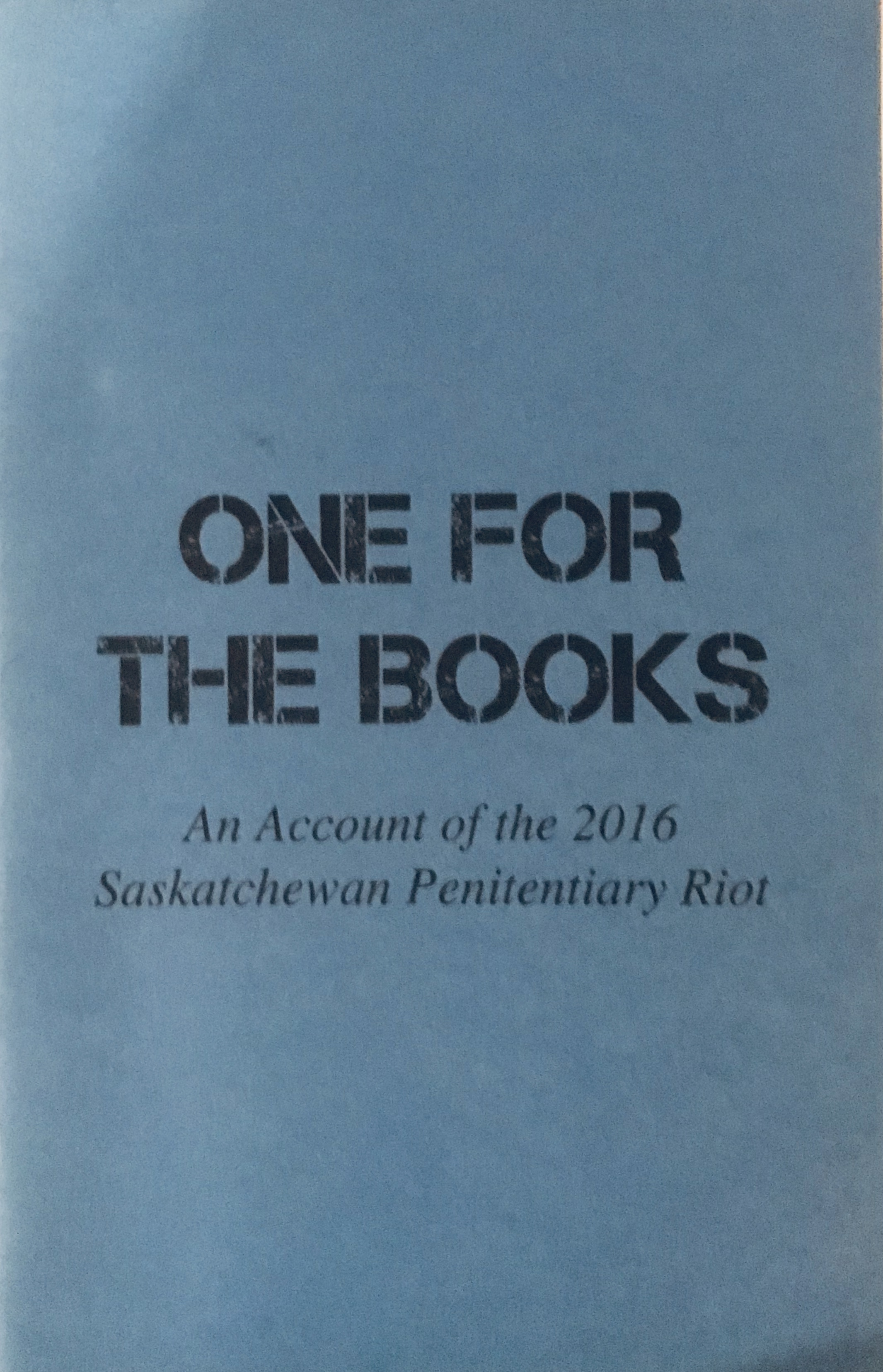 Cover of One For the Books: black text on blue background