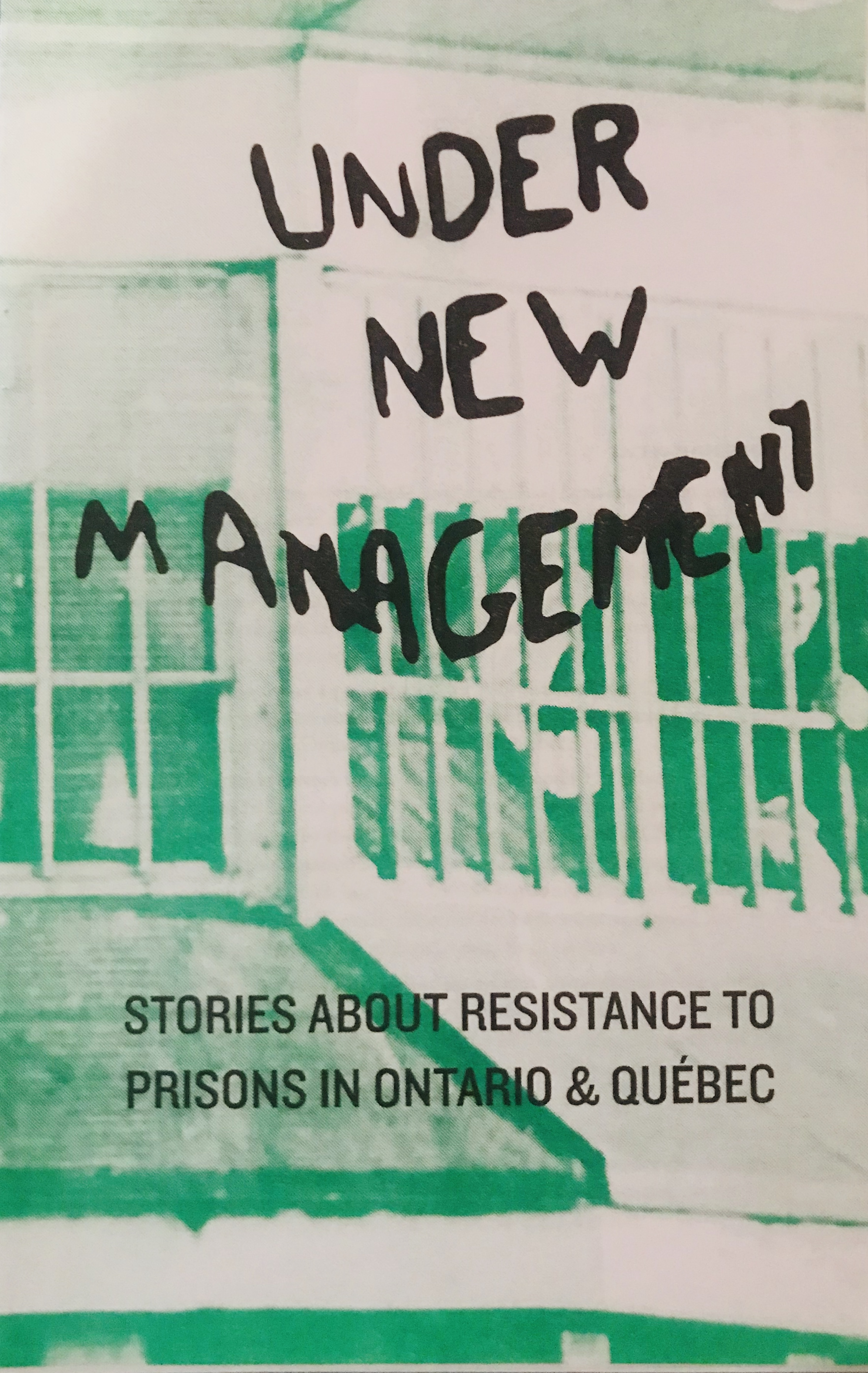 Under New Management cover; black text superimposed in an image of prison bars