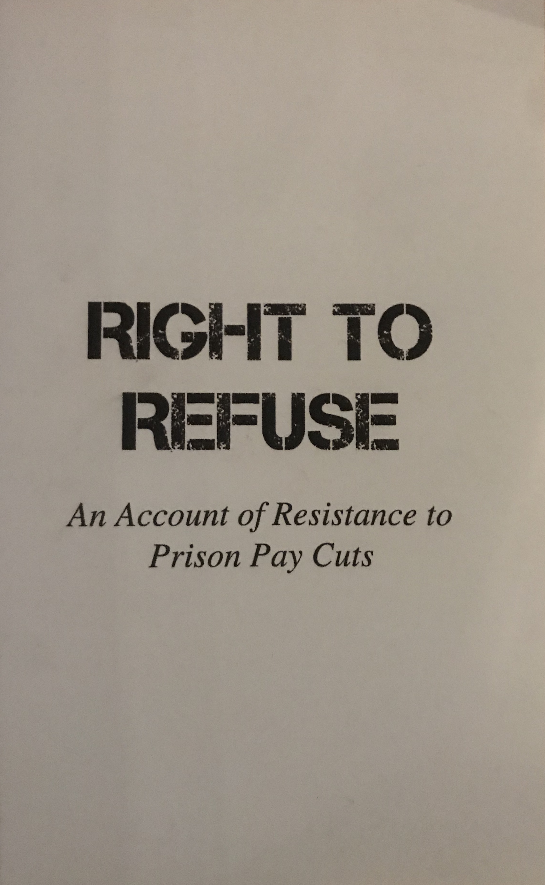 Zine cover for Right to Refuse; black text on white background