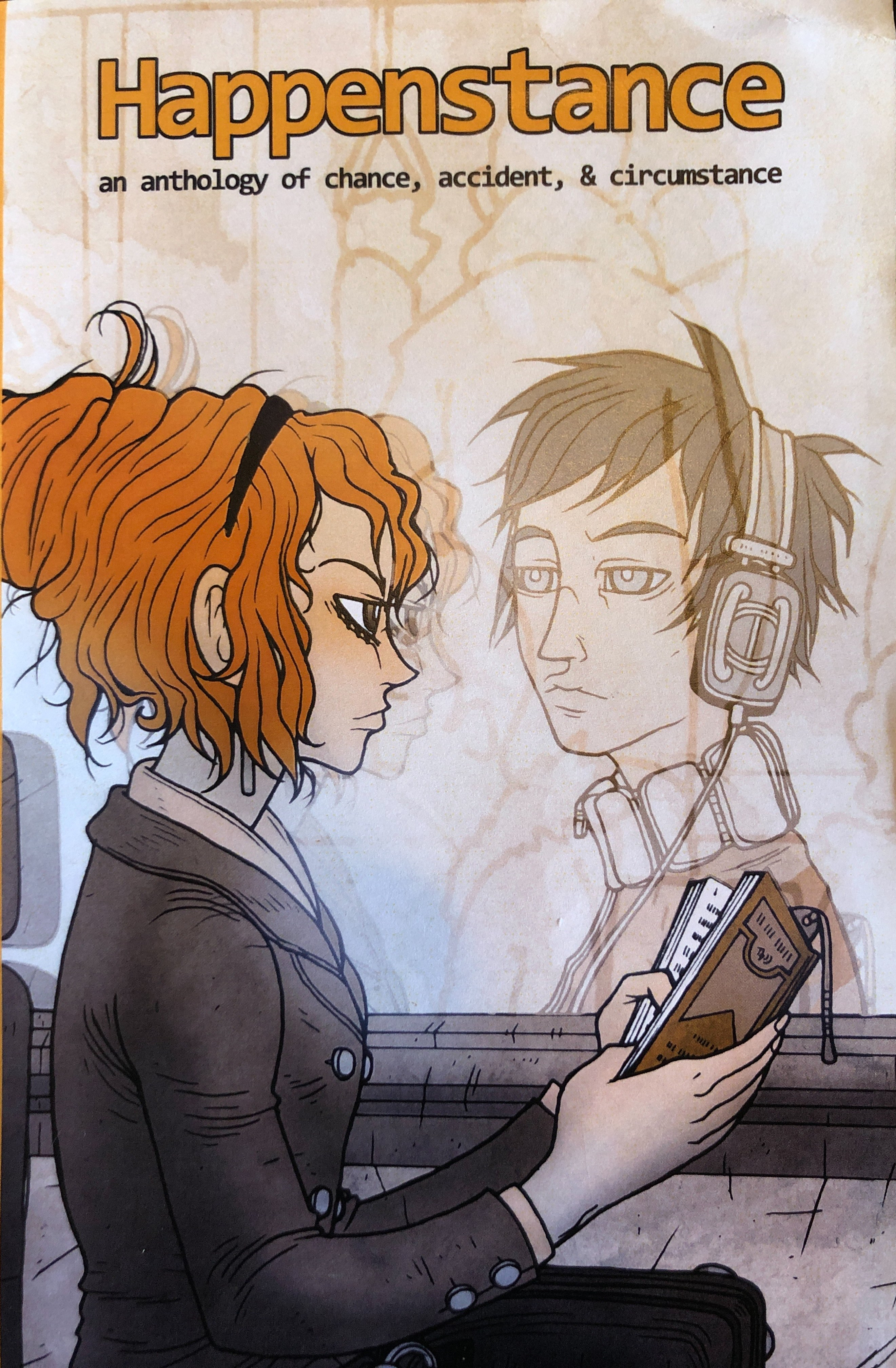Coloured illustration of a girl in a bus looking at a reflection of a man through her window.