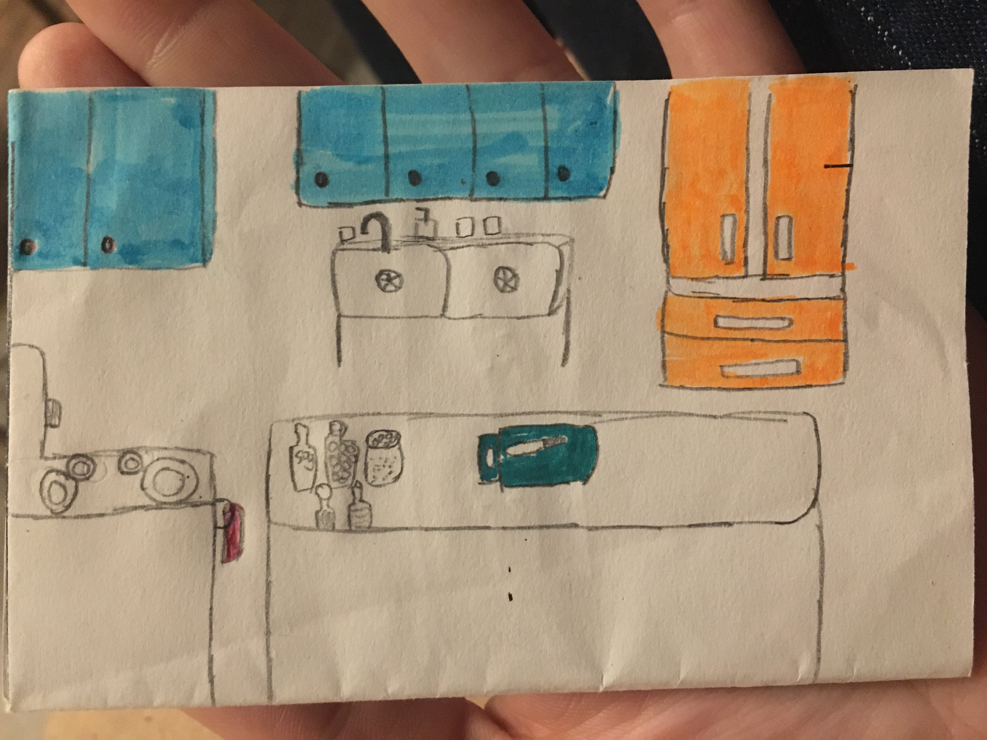 Pencil illustration of a kitchen with blue and orange cupboards, a stove, a sink, and an island with spices and a knife on it.