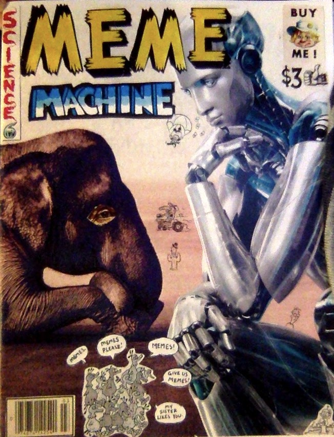 Collage art of a robot and an elephant.