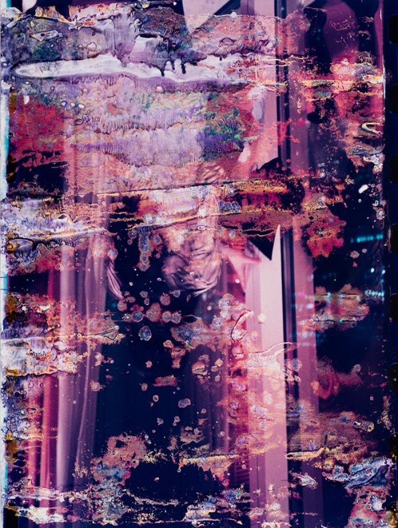"Abstract mixed media art piece with purple refractions on window, titled ""Montreal Snow"""