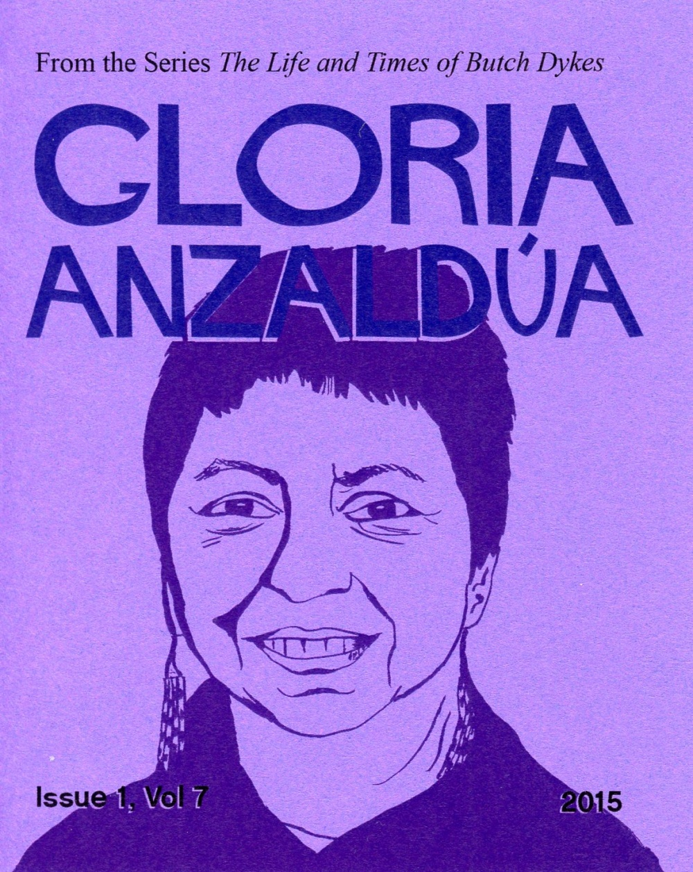 Cover of Gloria Anzaldua zine - an illustration of the writer