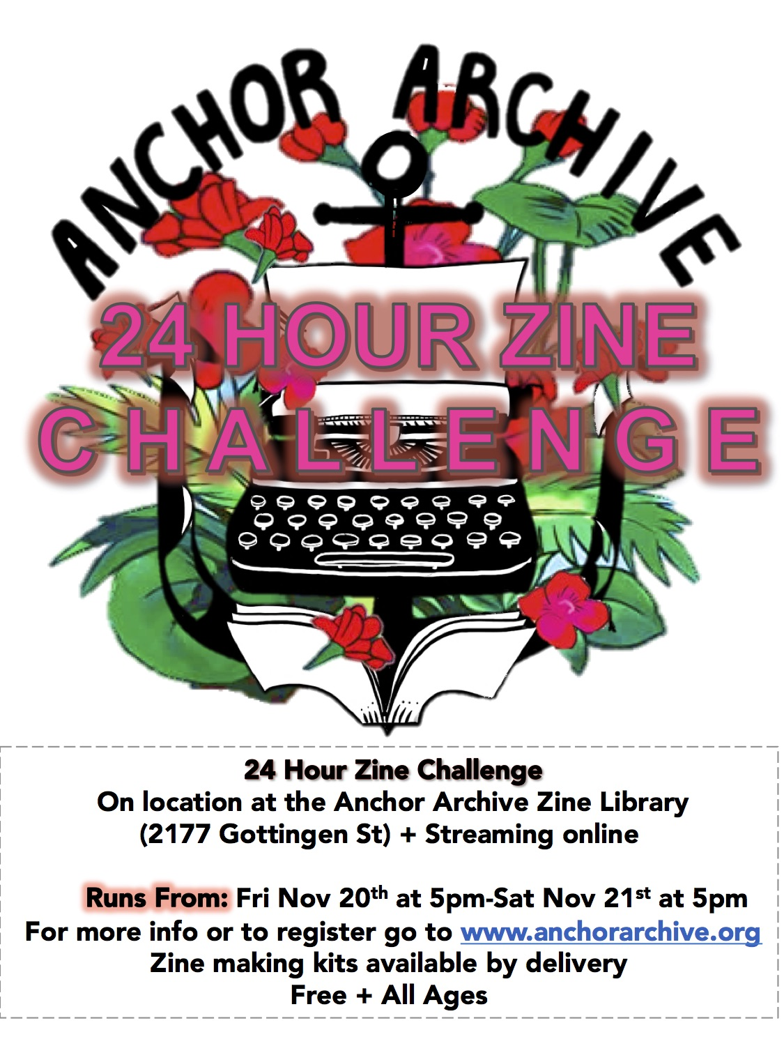 Poster of 24 hour zine challenge, including image of typewriter with floral background and text information included in the body of blog post.