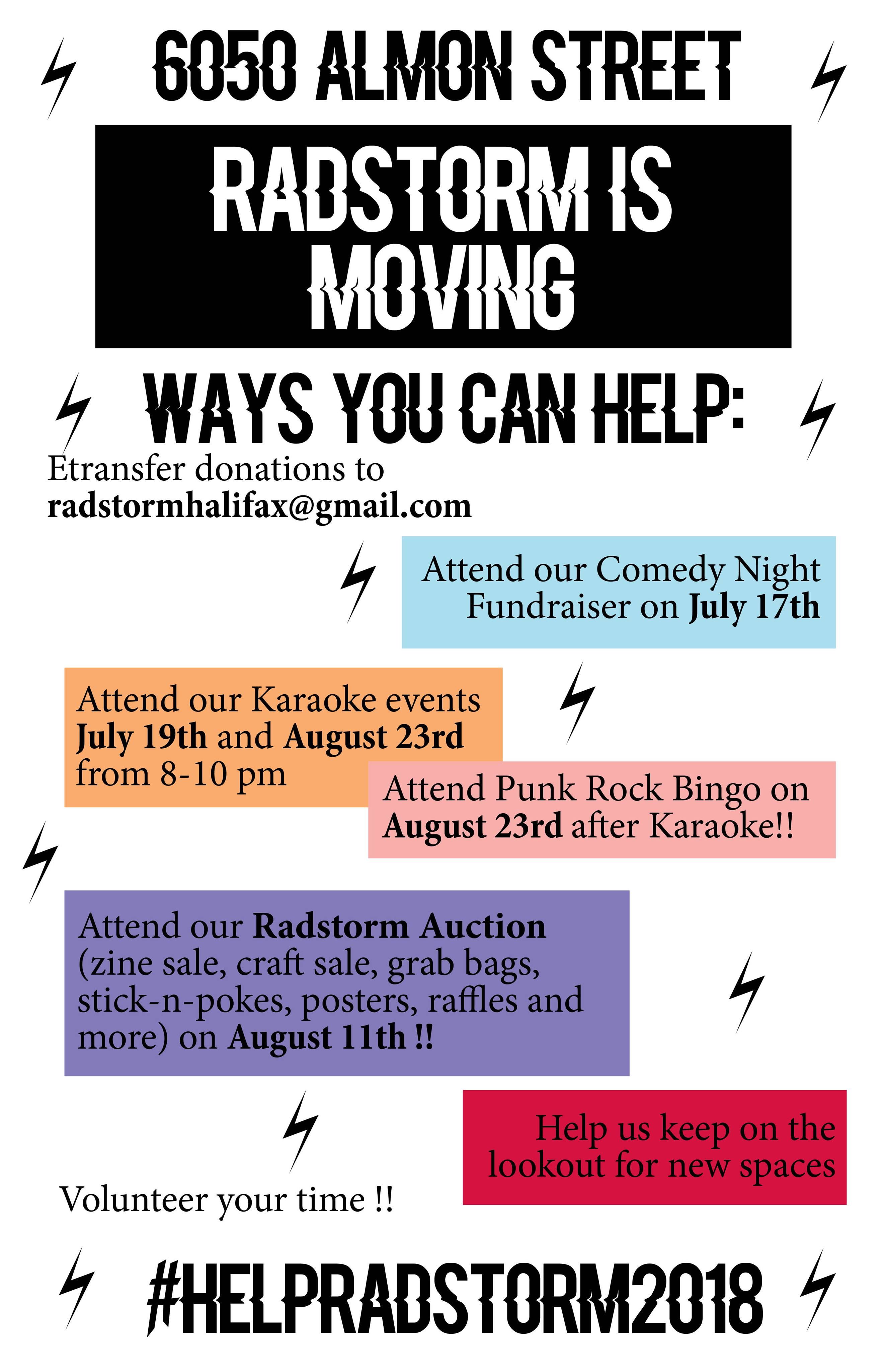 Poster for upcoming fun events to help RadStorm fund its upcoming move.