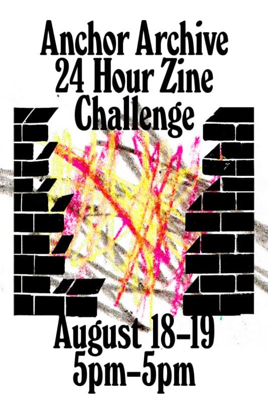 Poster advertising the 24 Hour Zine Challenge