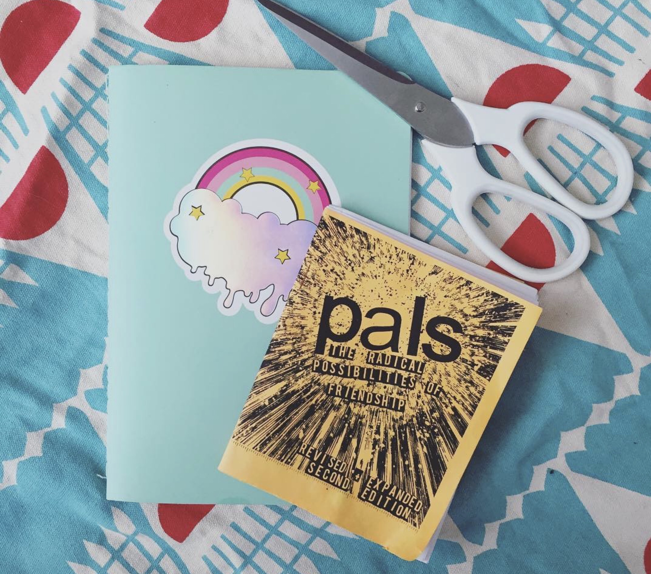"A zine called ""Pals"" and a zine with a rainbow on a green pastel background on the cover."