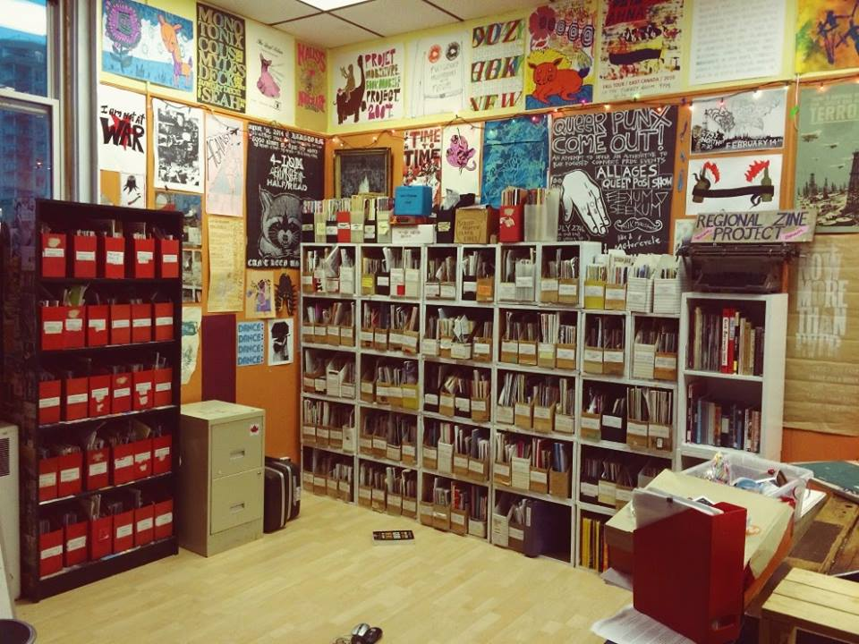 Photo of the zine library collection